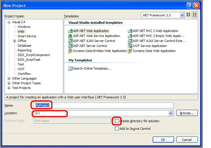 Visual Studio Create Project dialog highlighting the input fields for project name, existing parent directory and the unticked Create Solution Directory option
