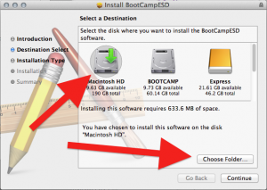 Image of OS X Installer step where you can choose the folder to install to