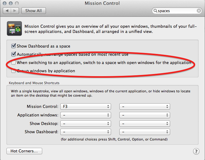 OS X Mission Control when switching to an application switch Space setting