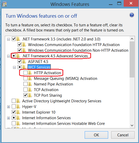 Windows Features - Windows 8 - Net45 - WCF - Http Activation Tickbox