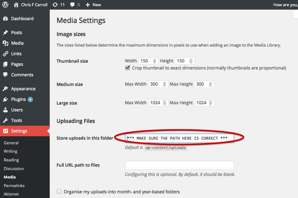 WordPress Settings Media Upload Path