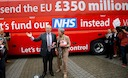 Boris in front of bus with lie about £350million