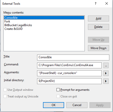 ConEmu in the Visual Studio ExternalTools menu
