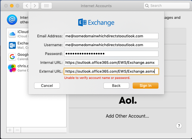 Adding your Outlook com account to MacOs as an Exchange