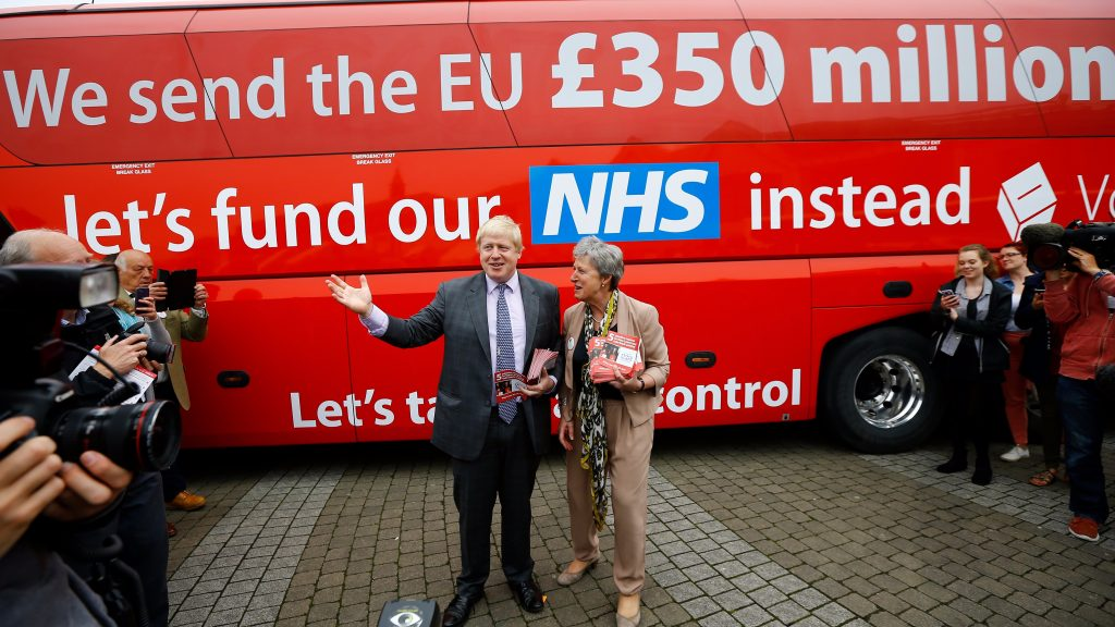 Boris Johnson stands in front of the bus with the lie about £350million